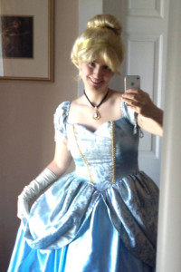 The author as Cinderella.<br srcset=